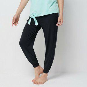 L AnyBody Tall Cozy Knit Ribbed Jogger Pants Black